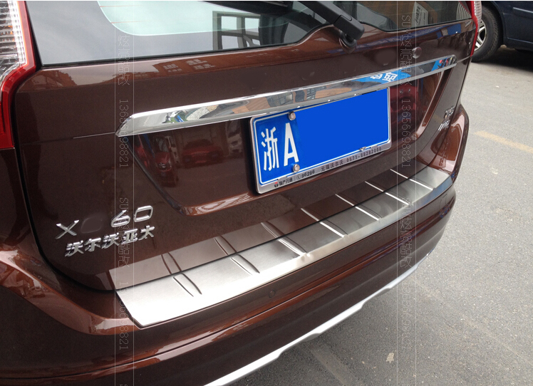 CAR STYLING STAINLESS STEEL REAR BUMPER PROTECTOR TRIM COVER PLATE FOR 2009 2010 2011 2012 2013 2014 2015 ACCESSORIES VOLVO XC60