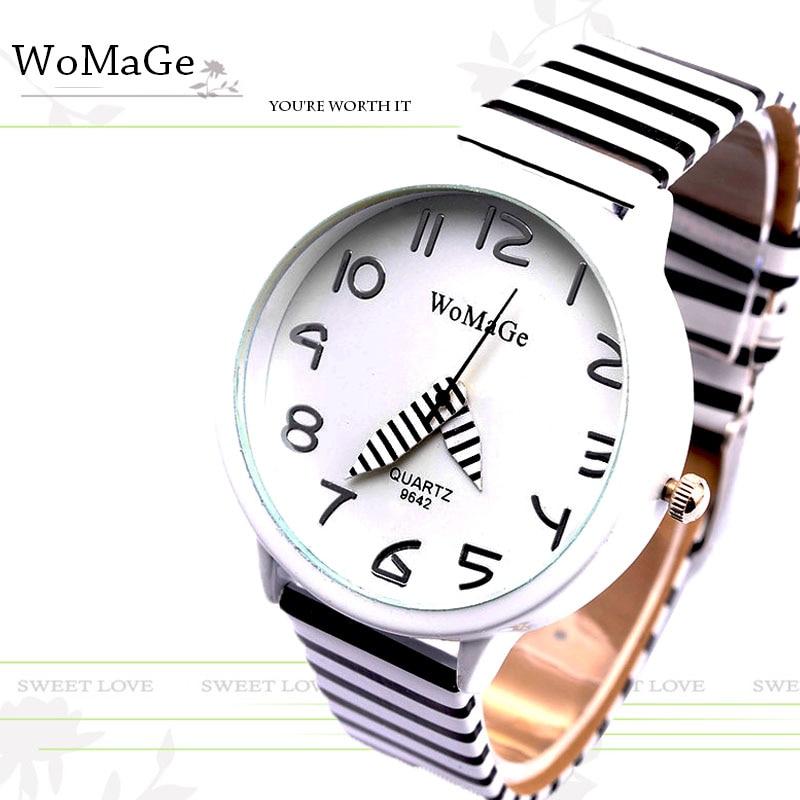2019 New Top Brand Womage Simple Designer Zebra Crossing Stripe Cow Leather Wrist Watches Girl Children Popular Quartz Clock