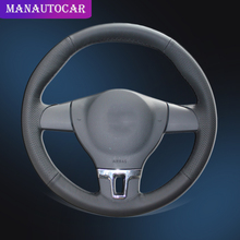 Car Braid On The Steering Wheel Cover for Volkswagen VW Tiguan Lavida Passat B7 Jetta Mk6 without Original Leather Auto Covers