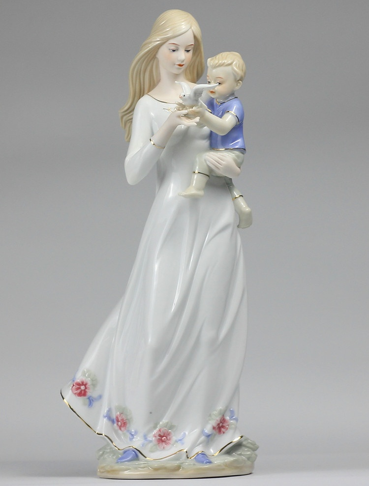 Porcelain Mom and Son Statue Decorative Ceramics Pigeon Figurine Artwork Gift and Craft Embellishment Accessories Furnishing