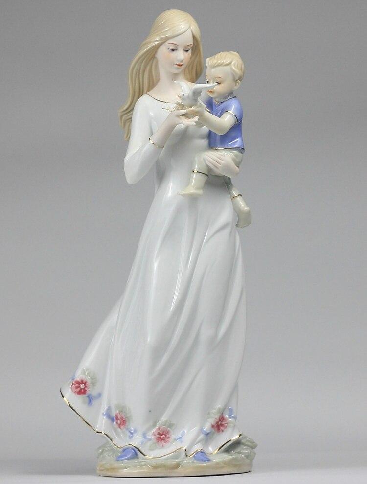Statue en porcelaine maman et fils céramique décorative Figurine Pigeon œuvre cadeau et artisanat embellissement accessoires ameublement