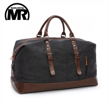 MARKROYAL Canvas Leather Men Travel Bags Carry on Luggage Bags 1