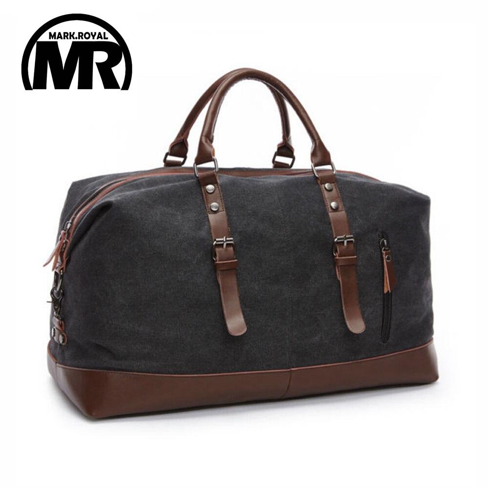 MARKROYAL lona cuero hombres bolsas de viaje del equipaje de los bolsos de los hombres viaje bolsas de viaje bolsa de fin de semana grande noche