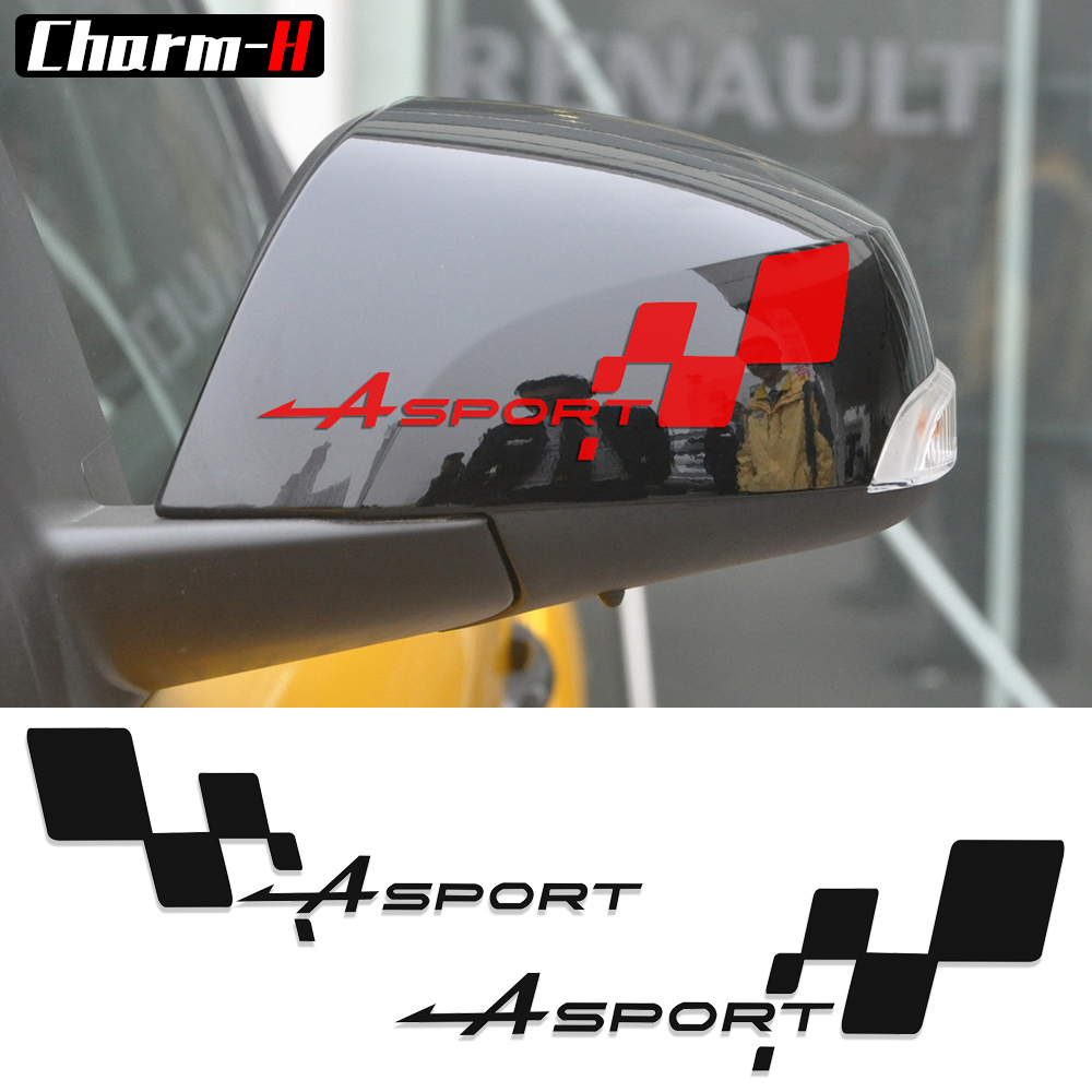 2pcs reflective side rear view mirror vinyl decal for renault clio r s twingo megane captur gt sport checkered flag stickers