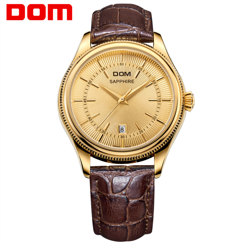 DOM Leather Strap Quartz-watch Luxury Gold Watch Men Business Men Watches 2017 Waterproof Orologio Uomo Vintage Male Clock Men 2017 men xinge brand business simple quartz watches luxury casual leather strap clock dress male vintage style watch xg1087