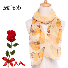 New Style Design Scarf Women Large Size 160*50cm Printed Butterfly Imitated Silk Polyester Shawl Hijab