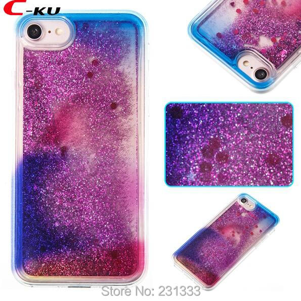 C-ku Liquid Quicksand Glitter Soft TPU Case For Iphone X 8 I8 7 Plus 7PLUS I7 6 6S SE 5 5S Star Rainbow Gradient Cover Skin 1pcs