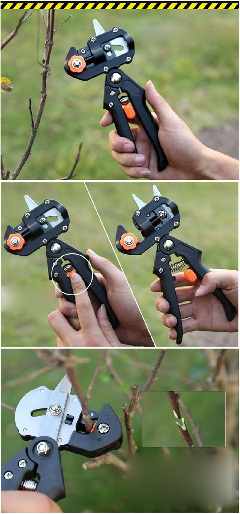 Garden Grafting Pruning Multifunctional Tool with Omega-Cut