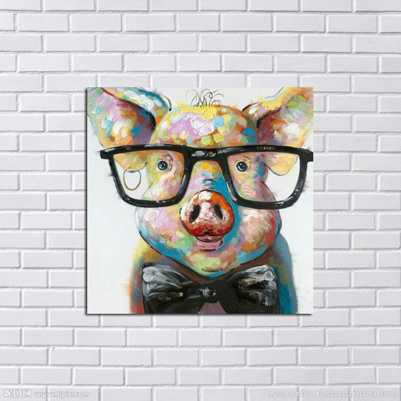 Cheap Large Frames Part - 29: Large Canvas Art Cheap 100% Hand Painted Abstract Lovely Pig Oil Painting  Modern Living Room Wall Decor Picture No Framed