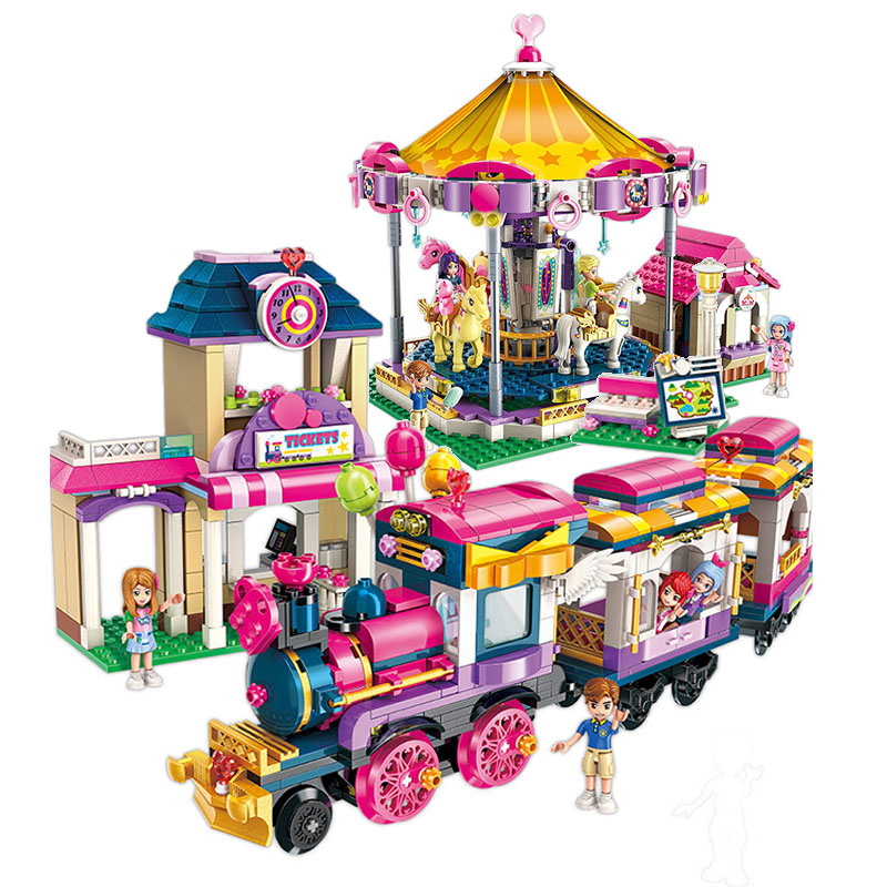 City Girls Friends Series Princess Fantasy Carousel Building Blocks Sets Bricks Model Kids Classic Compatible Legoings 10257