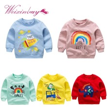 Baby Boys Girls Sweatshirts Spring Cartoon Cotton Tops Children Long Sleeve Sweatshirt Blouse Clothes