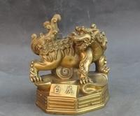Lucky China Folk Fengshui Brass Animal Evil spirits God Beast White Tiger Statue