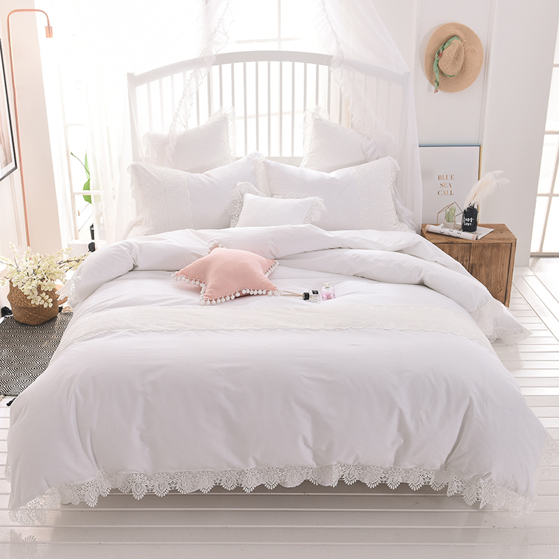 White pink gray 100% Cotton Bedding Set Twin full queen king size Duvet Cover lace Bed/skirt set PillowcasesWhite pink gray 100% Cotton Bedding Set Twin full queen king size Duvet Cover lace Bed/skirt set Pillowcases