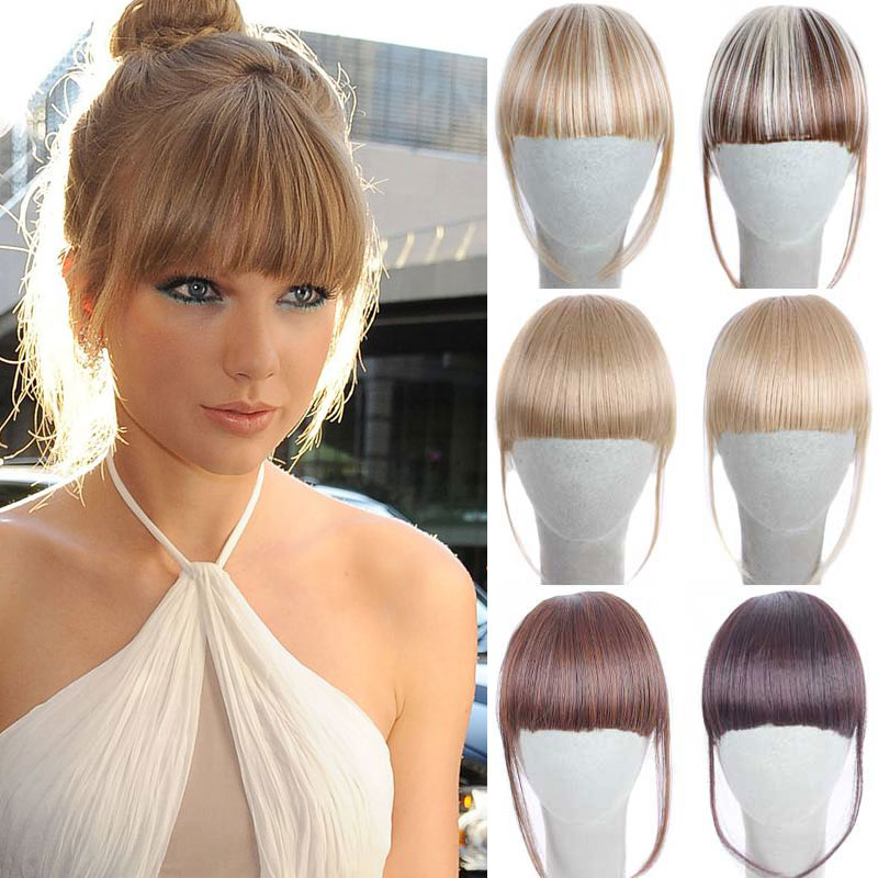 False Hair Bangs on the Rim Fringe Hair Bang Extension 6inch Hair Clips on  Women Fake Bangs Front Hair Extensions Clip Hairpiece d17f0a3afb