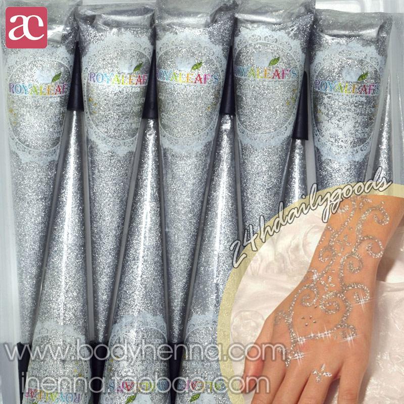 Us 75 5 Offbaru 1 Buah Alami Royaleafs Glitter Berwarna Pasta Henna Kerucut Untuk Tubuh Sementara Cat Pengantin Pernikahan Tatuajes Temporales In