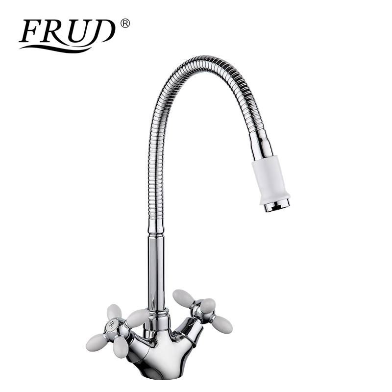 FRUD High Quality White Kitchen Faucets 360 Swivel Mixer Zinc Alloy Hot and Cold Water Classic Faucet Sink Tap torneira R43127-7