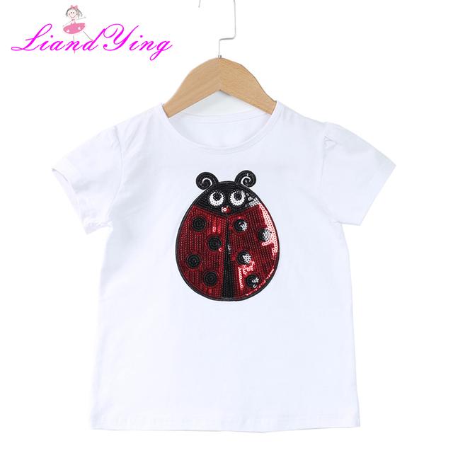 T-Shirts For Girls Sequins T Shirt Girls Cartoon Bear Kids Tshirt Summer Teen Clothes For Girls 2 4 6 8 10 12 Year