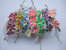 1 Mixed Plumeria Flower Fimo Clay Friendship Handmade Waxed Cord Bracelets Surf Fashion Jewelry