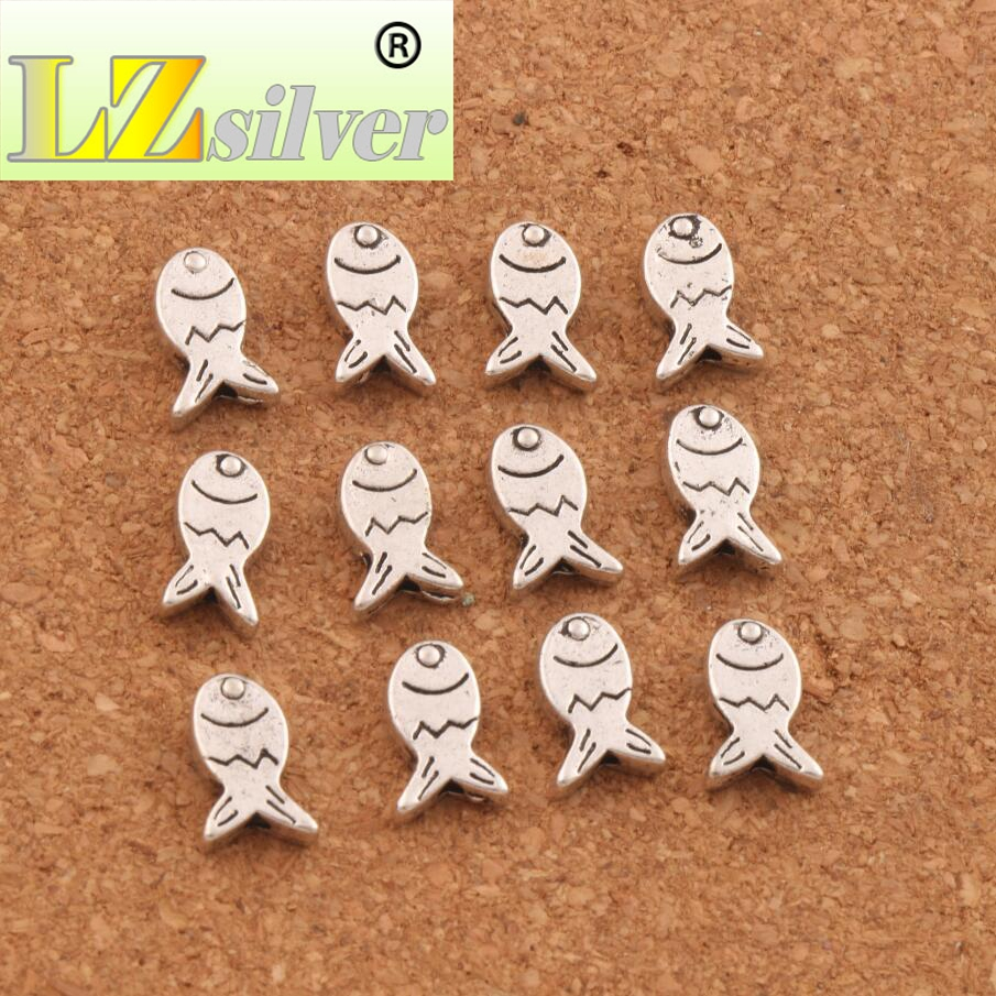 Fish Metal Spacer Beads 10 5X7 5mm 66PCS Antique Silver Loose Bead For Jewelry Making Findings L596 in Beads from Jewelry Accessories