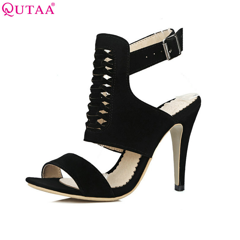 QUTAA 2017 Women Sandal Thin High Heel Pointed Toe Fashion Platform Summer Flock Ladies Wedding Shoes Size 34-43 new 2017 spring summer women shoes pointed toe high quality brand fashion womens flats ladies plus size 41 sweet flock t179