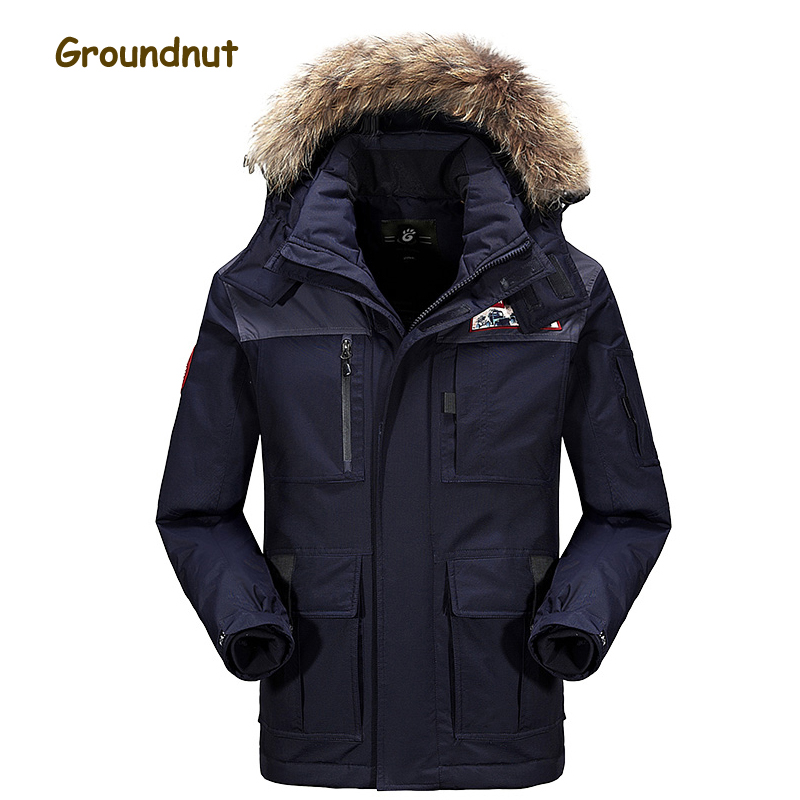 Cockscomb Brand Large Fur Collar Thick Warm Winter Duck Down Coats Outerwear Men Plus Size Fashion Down Jackets With Hood