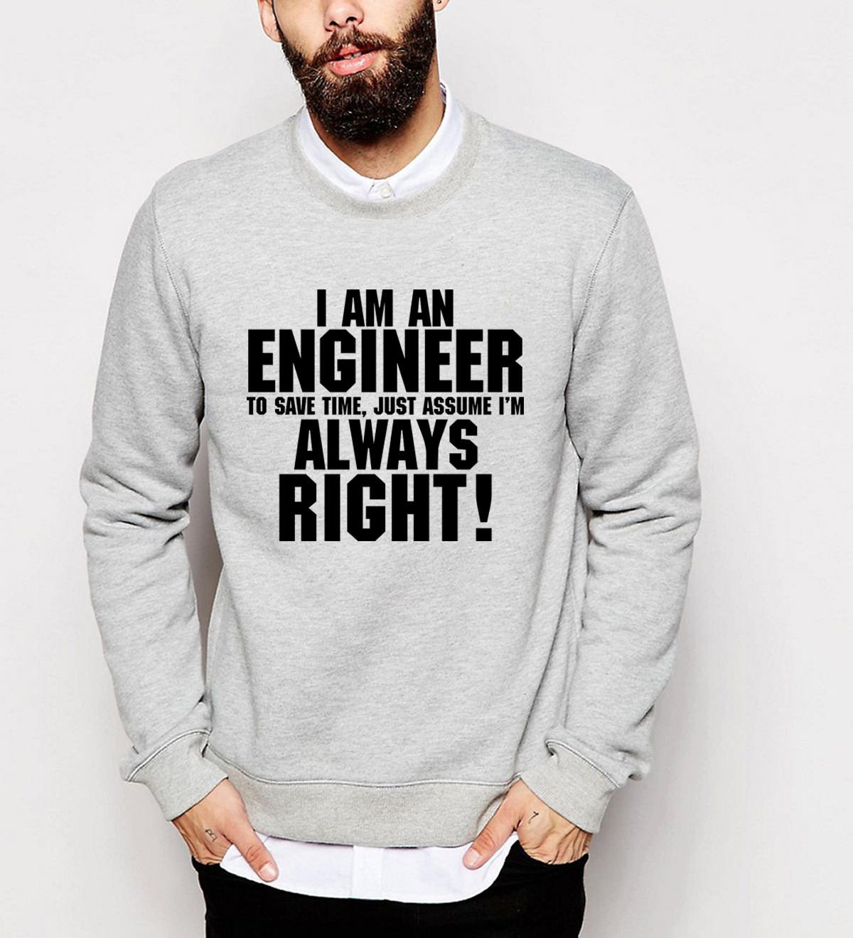 I Am An Engineer I'M Always Right  hoodies 2019 men autumn winter   sweatshirts hip hop brand tracksuit top fashion clothing