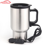 12V 450ML Stainless Steel Cup Kettle Travel Coffee Heated Mug Portable Electric Car Water Heater Kettle + Cigar Lighter Cable cup