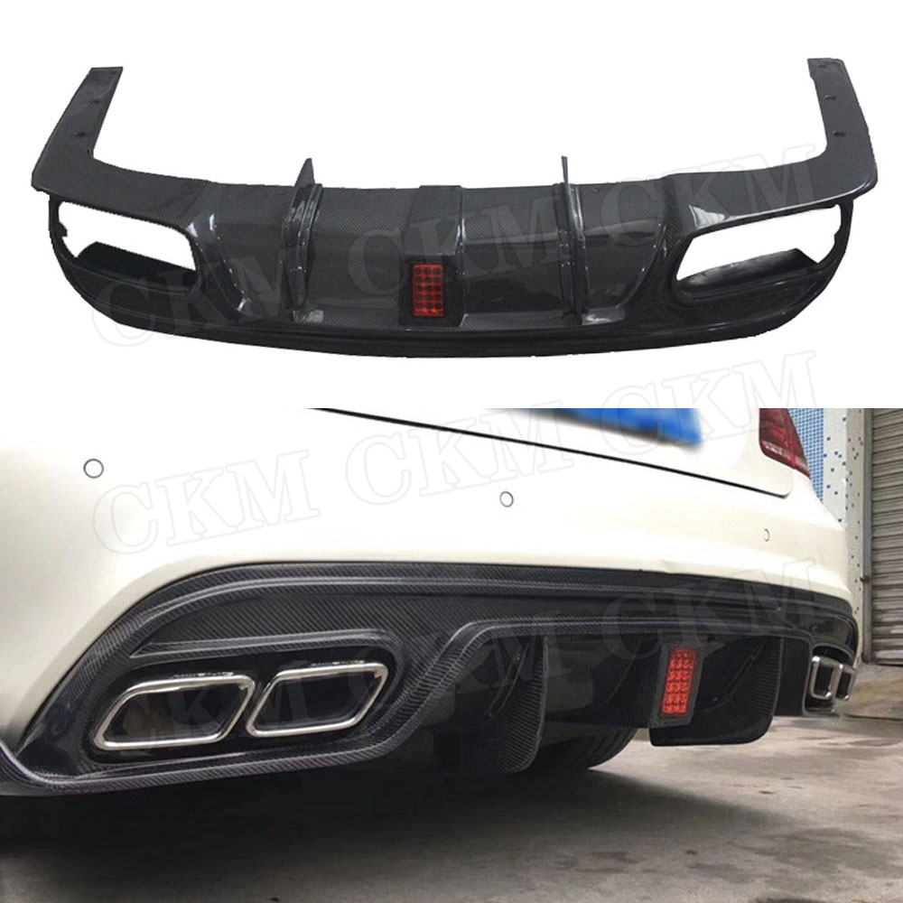 Carbon Fiber Rear Lip Diffuser for <font><b>Mercedes</b></font> Benz W207 C207 <font><b>Coupe</b></font> E200 E260 <font><b>E300</b></font> 2 Door 2014 - 2016 With LED Light Bumper Guard image