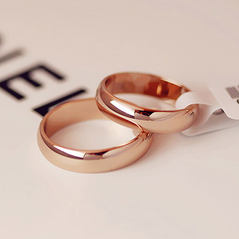 High quality 4mm Wholesale Simple Ring Fashion Rose Gold Ring Men's and Women's Exclusive Couple Wedding Ring