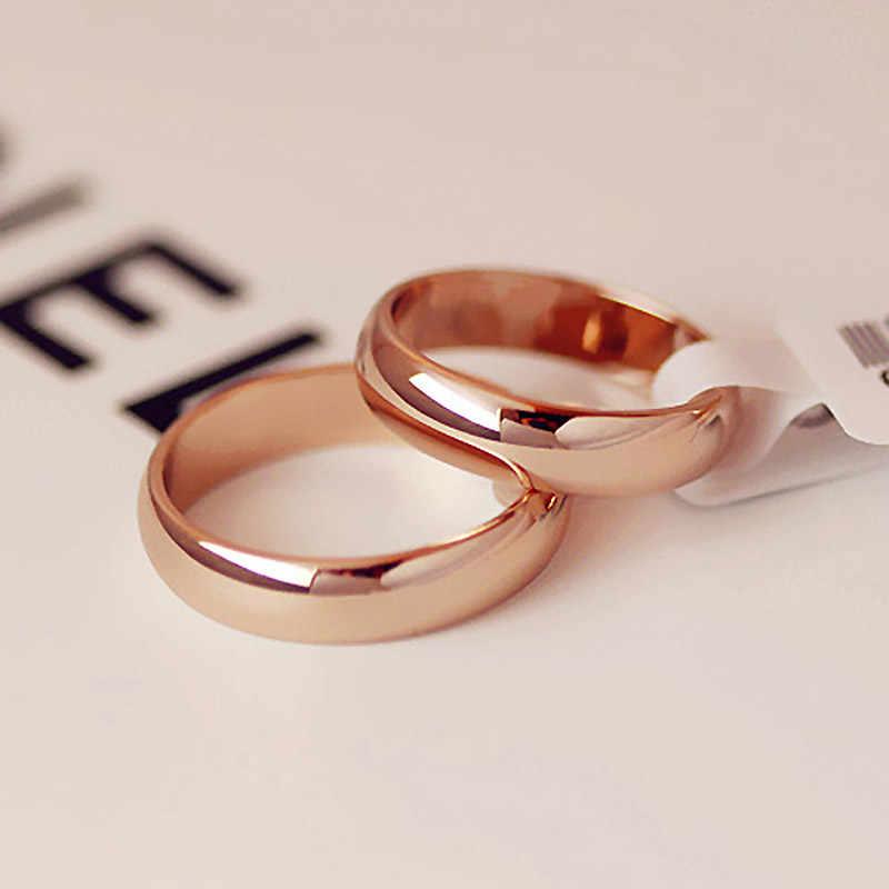Hohe qualität 4mm Großhandel Einfache Ring Fashion Rose Gold Ring männer und frauen Exclusive Paar Hochzeit Ring