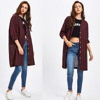 Mùa xuân Mùa Thu Phụ Nữ Fashion Bông và Vải Lanh Áo Sơ Mi T Lỏng Casual Dài Tops Sọc Mở Stitch T-Shirt Áo Khoác