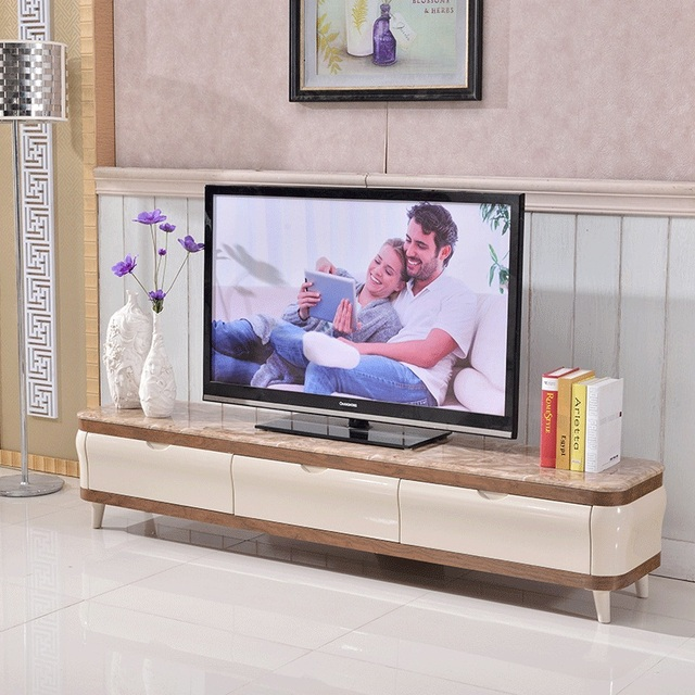 2015 NEW ARRIVAL TV Stand For Living Room Mediterranean Marble Top TV  Cabinet, Stainless Steel