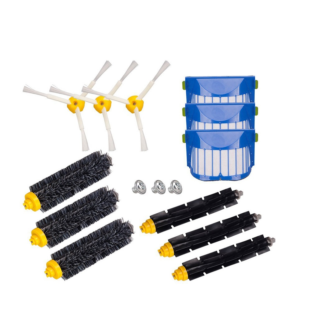 Bristle Flexible Beater Brush 3-Armed Brush Aero Vac Filters kit for iRobot Roomba 600 Series 620 630 650 660 robot vacuum parts 14pcs free post new side brush filter 3 armed kit for irobot roomba vacuum 500 series clean tool flexible bristle beater brush