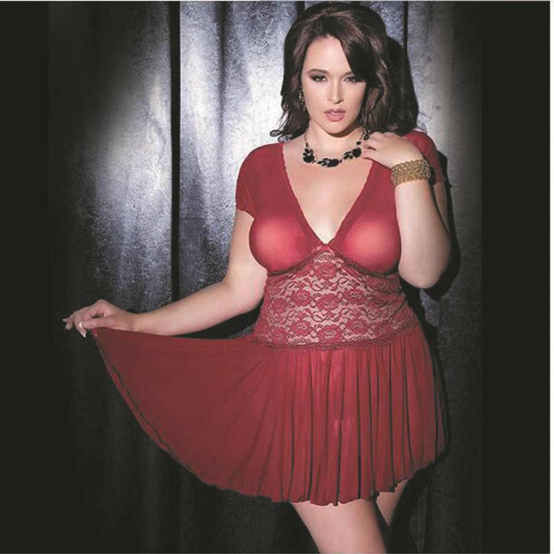 Женское прозрачное плюс размер 5xl 6xl сексуальное Глубокий V белое платье с вышивкой Сетчатое кружевное белье пижама Сексуальное эротическое платье Porno