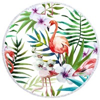 Round Beach Towel Cute Printed Flamingo Large Round Beach Towel With Tassels Thick And Soft Bath Towel Yoga Mat 59x59 Inch