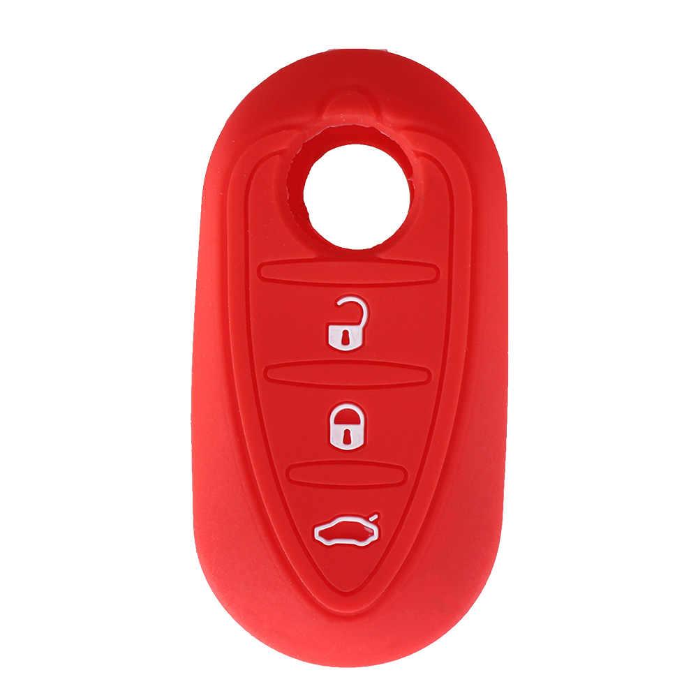 KEYYOU 3 Düğmeler Silikon Araba Anahtarı Durum Kapak Alfa Romeo Mito Giulietta Katlanır Çevirme Uzaktan Araba Anahtarı Kabuk