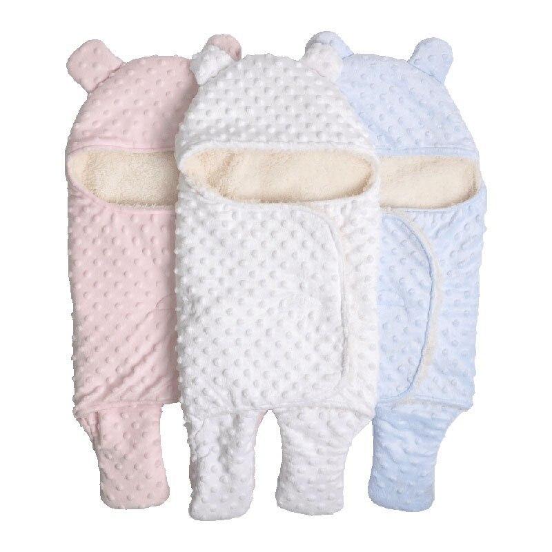 MOTOHOOD Coral Fleece Infant Swaddle Stroller Wrap For Newborn Baby Bedding Blankets Winter Thicken Velvet Baby Blanket Swaddle (2)
