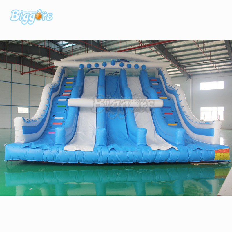 Giant Triple Lane Slide With Steps Bouncy Inflatable Slide For Sale