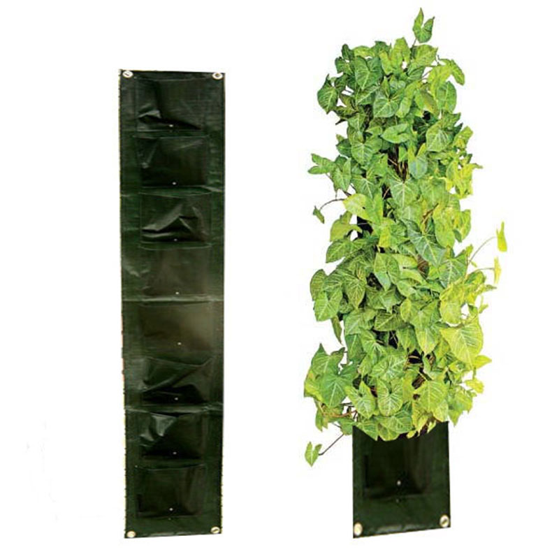 8 Pocket Vertical Garden Planter Hanging Wall Pot With 8 Pages Planting Bag  Plastic Plant