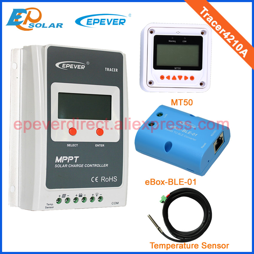 Tracer charger mppt solar controller Tracer4210A 12v 24v auto work BLE sensor and MT50 free shipping EPEVER brand 40A china hotsale me mppt2440 24v 40a mppt solar system controller price free shipping