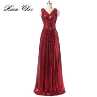 Sequin Evening Dress V Neck Evening Gowns Sleeveless Long Prom Party Formal Dresses