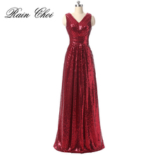 Sequin Evening Dress V Neck Gowns Sleeveless Long Prom Party Formal Dresses