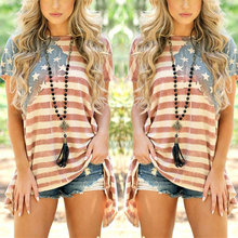 Women American Flag Print T- shirt Short Sleeves Baggy Stars Stripes T-shirts Tee Tops AIC88