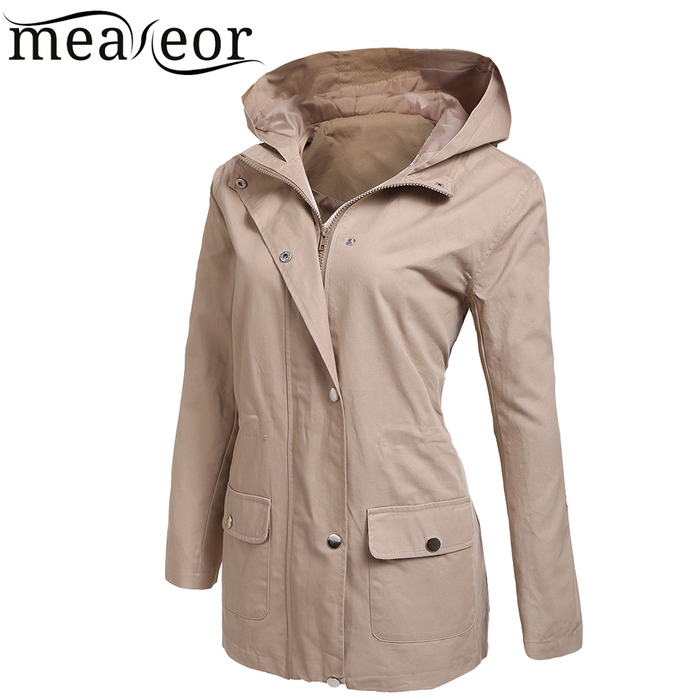 Cordón Otoño Sólido khaki Militar Chaqueta navy Black Capucha Invierno Meaneor Abrigo Para up Zip Manga Blue Frontal Green Bolsillo Con army Mujer Larga Zip Primavera fzf0SnA8