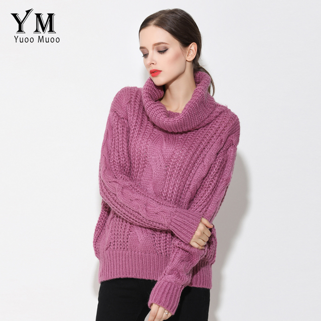 YuooMuoo New European Fashion Loose Women Sweater Turtleneck Autumn Winter Sweater Knitted Women Tops Fashion Jumper pull femme
