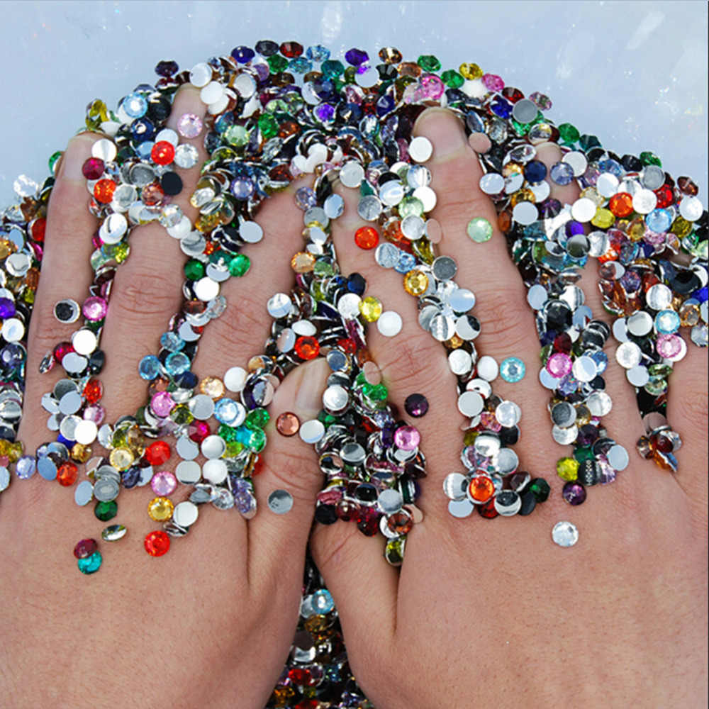 1000Pcs/lot Mixed Color Acrylic Round Nail Art Glitter Rhinestones Glitter for Nail Art Makeup and DIY Nail Tool Decoration