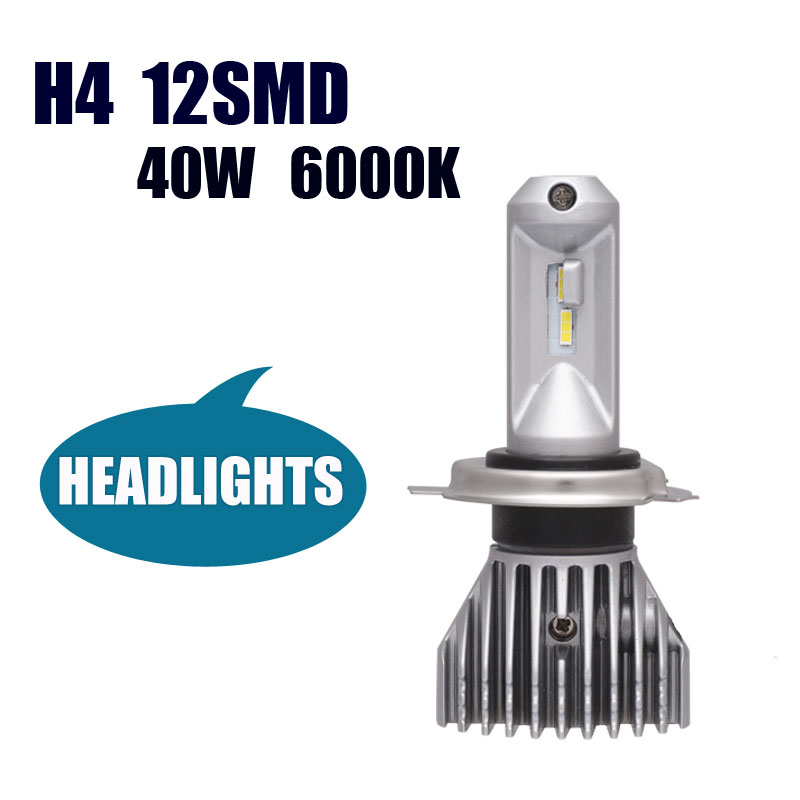 Automobile Trucks LED Headlight H4 9003 HB2 Hi/Lo New Pattern No Fan All in One LED Bulb High Brightness 40W 8000LM 6000K