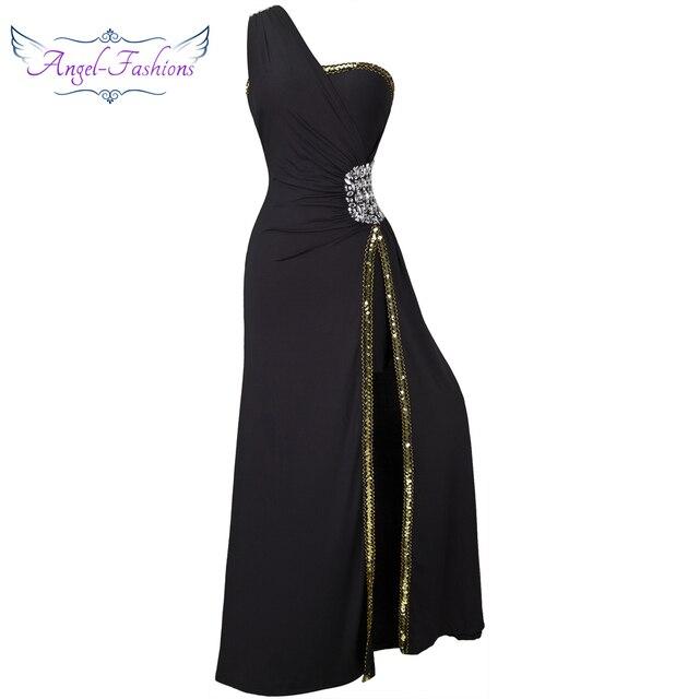 Angel-fashions Beading Prom Formal Evening Slit Long Evening Dresses Black  027 83bb499f9b97