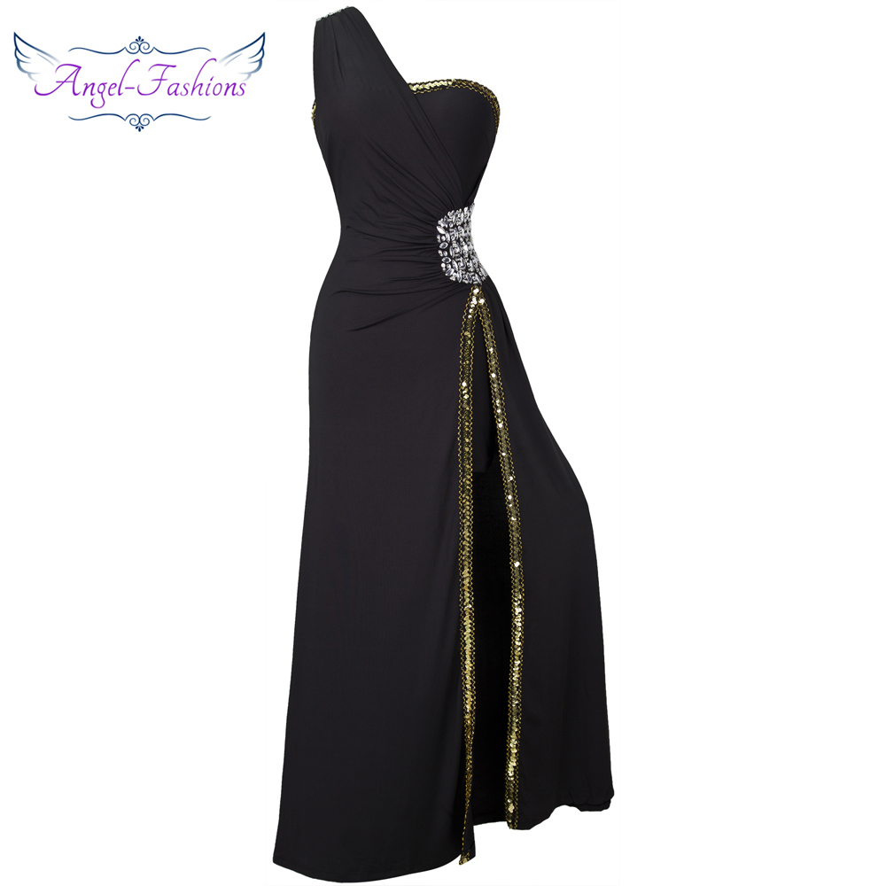 Angel-mode perles bal formel soirée fente longues robes de soirée noir 027