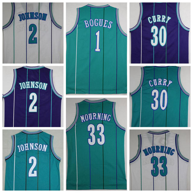 aabb7dacd 2016 Retro 1 Tyrone Muggsy Bogues Jersey 2 Larry Johnson 30 Dell Curry  Basketball Jerseys Shirt 33 Alonzo Mourning 41 Glen Rice